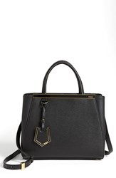 Fendi 'Petite 2Jours Elite' Leather Shopper Black Black Gold Hdwr