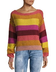 Free People Candyland Boatneck Striped Sweater Yellow Multi
