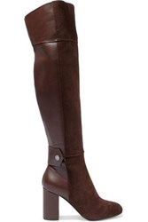 Belstaff Paneled Leather And Suede Over The Knee Boots Chocolate