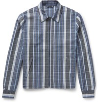 Acne Studios Malcom Checked Wool Jacquard Jacket Navy
