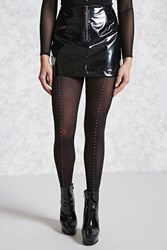 Forever 21 Semi Sheer Studded Tights Black Silver