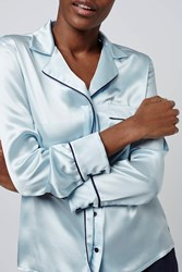 Pyjama Style Satin Shirt By Boutique Pale Blue