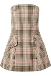 Maggie Marilyn I Believe In You Strapless Checked Woven Mini Dress Sand