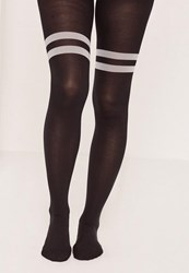 Missguided Black And White Opaque Striped Tights