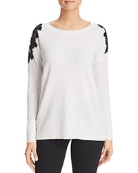 Bloomingdale's C By Floral Lace Shoulder Cashmere Sweater Snow Black