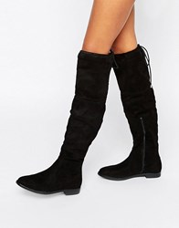 Truffle Collection Flat Over Knee Boot Black Stretch Micro