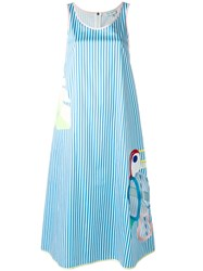 Mira Mikati Striped Cut Out Dress Blue