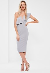 Missguided Grey One Shoulder Frill Midi Dress