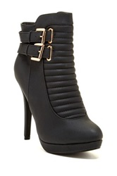 Top Guy Tiger Stiletto Heel Bootie Black