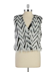Michael Michael Kors Plus Zigzag Faux Fur Vest Black White