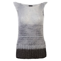 Claire Andrew Cap Sleeve Striped Knit Grey