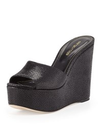 Sergio Rossi Lakeesha Crackled Suede Wedge Mule Black