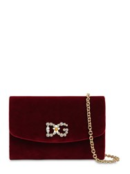 Dolce And Gabbana Embellished Velvet Clutch Bordeaux