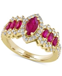 Effy Final Call Ruby 1 1 3 Ct. T.W. And Diamond 5 8 Ct. T.W. Ring In 14K Gold Yellow Gold