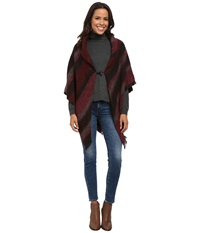 Echo Meadow Stripe Poncho Shawl Winter Rose Heather Women's Sweater Brown