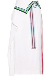 Diane Von Furstenberg Pleated Grosgrain Trimmed Linen Blend And Georgette Skirt White