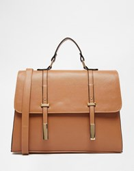 Asos Tab Front Satchel Bag Tan