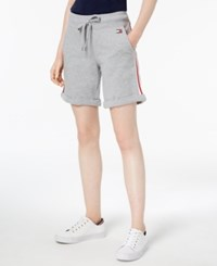 Tommy Hilfiger Striped Rolled Hem Shorts Pearl Grey Heather
