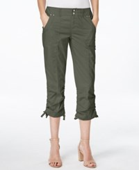 Inc International Concepts Petite Ruched Leg Cargo Capri Pants Only At Macy's Olive Drab