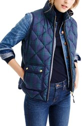 J.Crew Women's Black Watch Excursion Quilted Vest