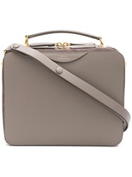 Anya Hindmarch The Stack Double Satchel In Porcini Circus With Natural Grey
