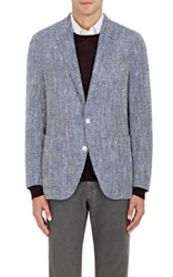 Boglioli Men's Dover Herringbone Silk Cotton Two Button Sportcoat Blue