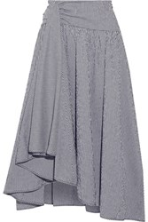 Rosie Assoulin Asymmetric Draped Gingham Seersucker Maxi Skirt Midnight Blue