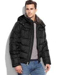 Tommy Hilfiger Puffer Coat With Faux Fur Collar Black