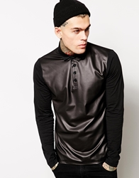 Asos Long Sleeve Polo Shirt With Leather Look Front Black