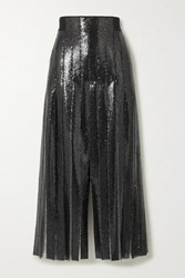Akris Pleated Sequined Tulle Maxi Skirt Black