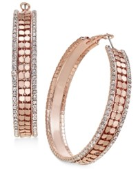 Thalia Sodi Gold Tone Metal Mesh And Crystal Hoop Earrings Only At Macy's Rose Gold