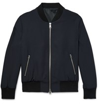 Ami Alexandre Mattiussi Wool Bomber Jacket Midnight Blue