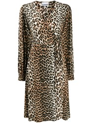 Ganni Leopard Print Wrap Dress 60