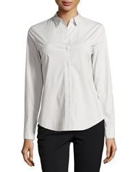 Theory Larissa Ii Long Sleeve Blouse Cement