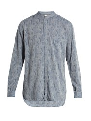 Paul Smith Collarless Floral Jacquard Shirt Blue Multi