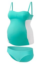 Women's Amoralia Maternity Tankini Swimsuit Mint White