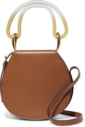 Marni Melville Acrylic Trimmed Leather Shoulder Bag Tan