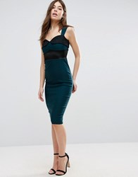 Vesper Pencil Dress With Lace Insert Forest Green