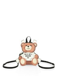 Moschino Bear Paperdoll Fantasy Leather Backpack Multi