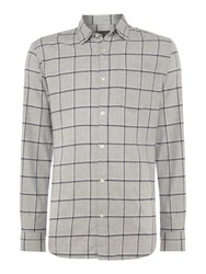 Jack And Jones Men's Check Long Sleeve Cotton Shirt Grey