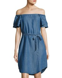 Chelsea And Theodore Off The Shoulder Denim Style Chambray Dress Blue