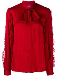 Blumarine Pussy Bow Blouse Red