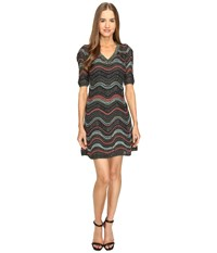 M Missoni Lurex Ripple V Neck Short Sleeve Dress Black