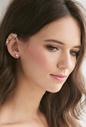 Forever 21 Flower Ear Cuff Set Gold Pink