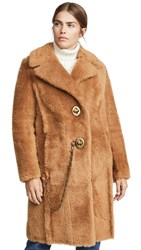 Coach 1941 Long Shearling Coat Caramel