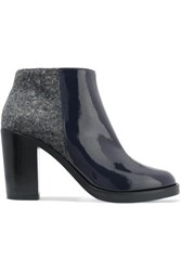 Mcq By Alexander Mcqueen Felt Paneled Patent Leather Ankle Boots Midnight Blue