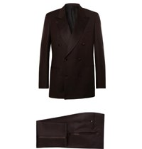 Brioni Brown Slim Fit Double Breasted Silk Satin Trimmed Wool And Mohair Blend Twill Tuxedo