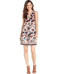 Studio M Shawl Collar Geo Print Shift Dress Open