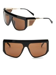 Balmain 62Mm Aviator Shield Sunglasses Black Brown
