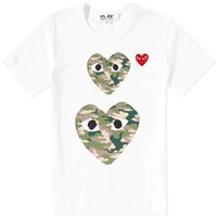Comme Des Garcons Play Twin Heart Tee White